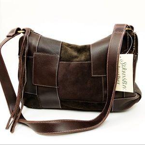 ST JOHN'S BAY leather patchwork shoulder bag